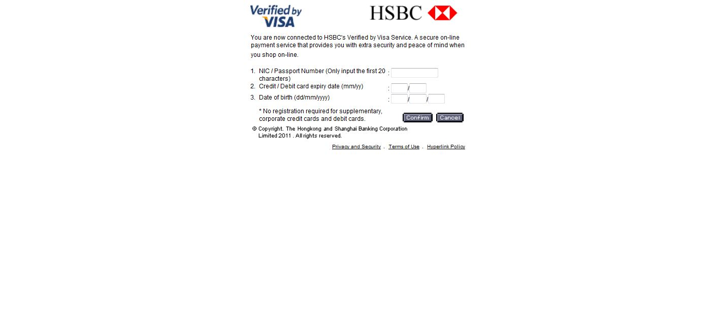 Payment authentication detail key-in form