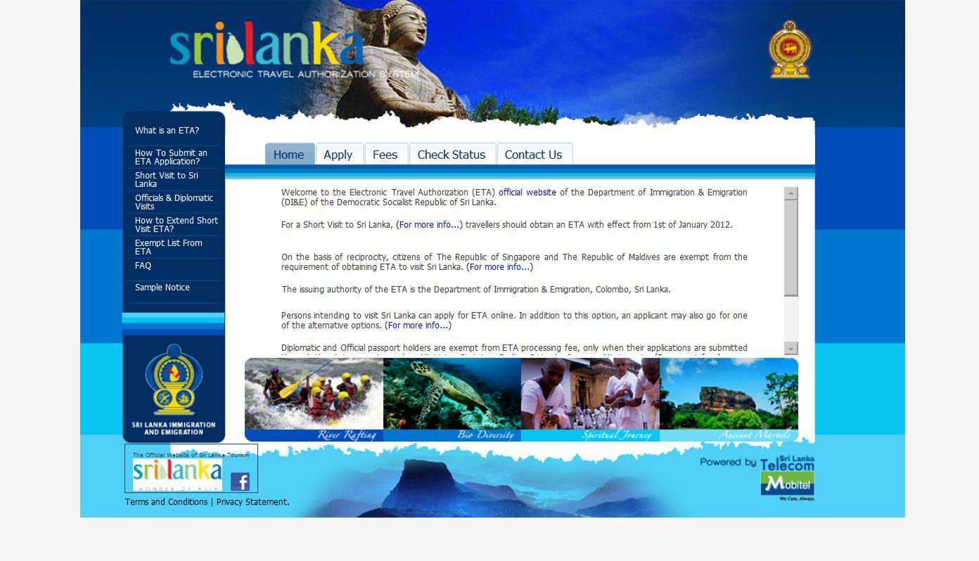 Sri Lanka Electronic Travel Authorization Home Page