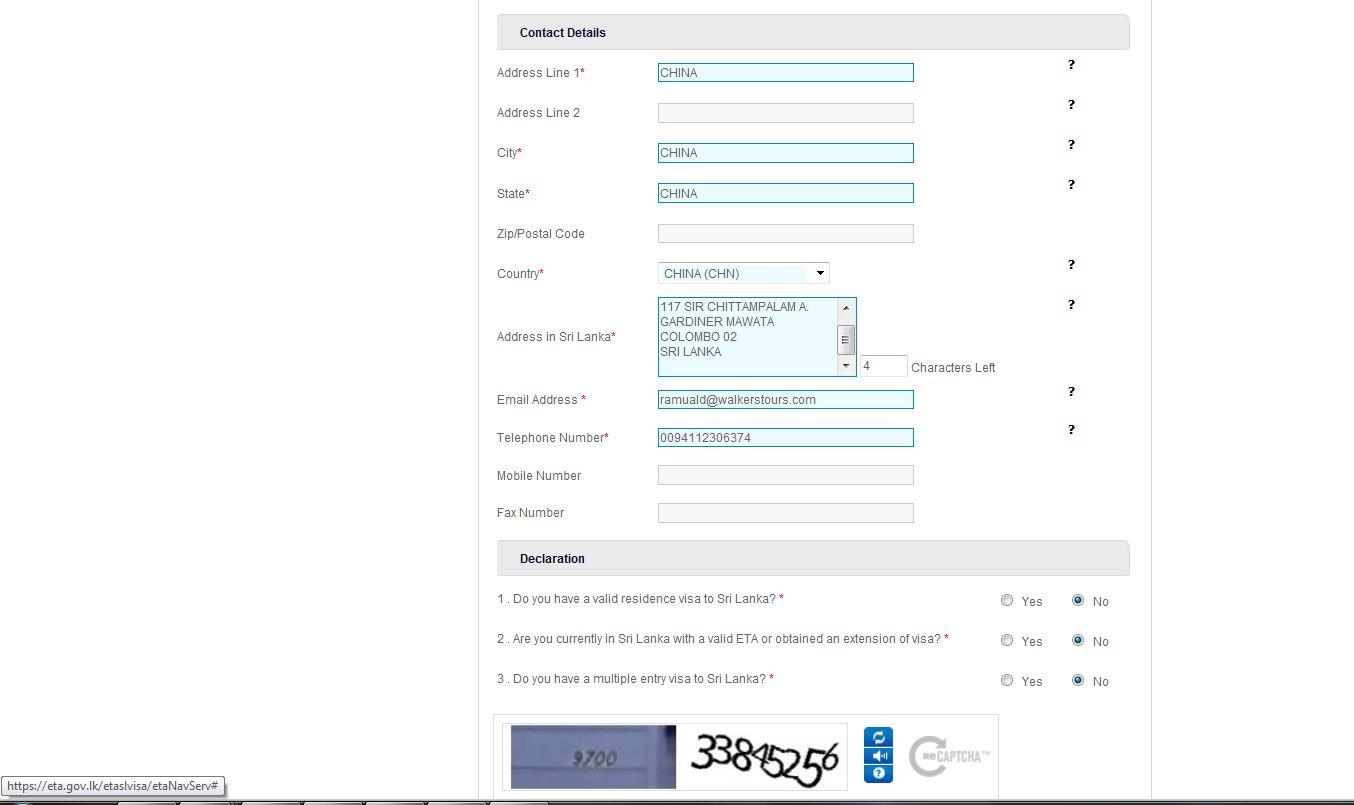 Contact Details Fill- In form
