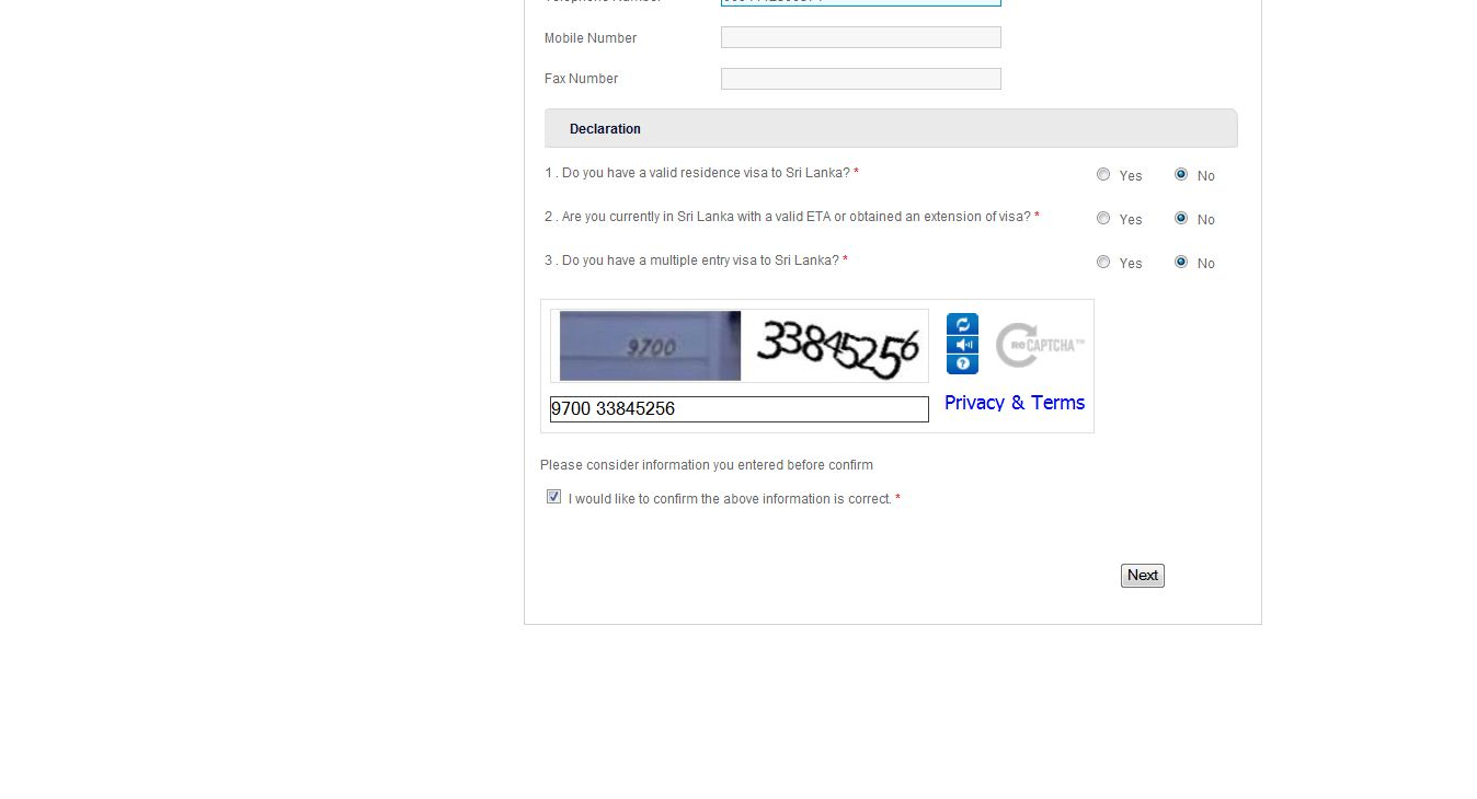 Recaptcha Entry point for Travel Information Declaration