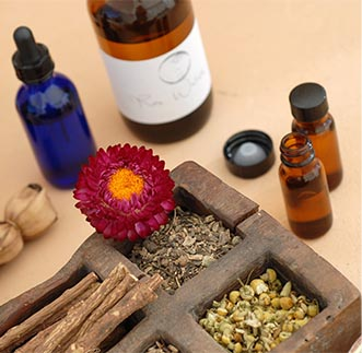 Soothing Ayurvedic ingredients arranged for a treatment