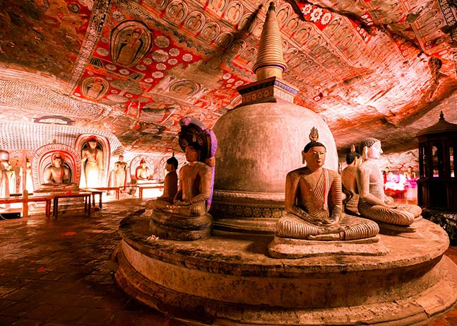 Dagaba and the Buddha Statues at the Dambulla Cave Temple