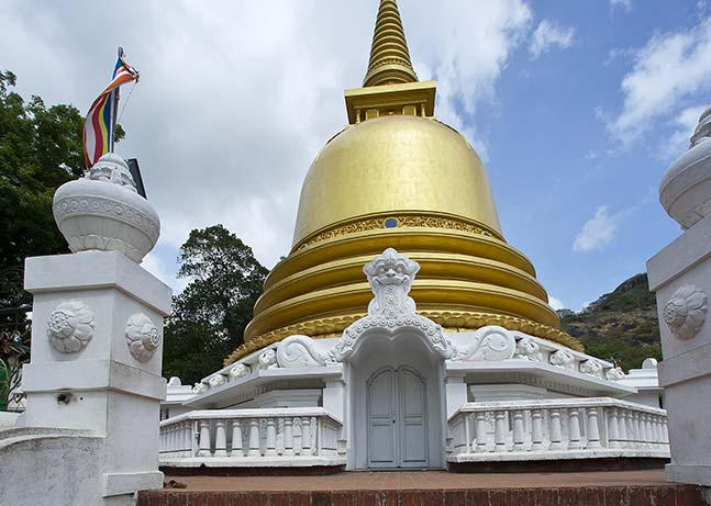 The golden stupa at the Dambulla Cave Temple