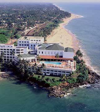 Aerial view of the famous Mount Lavinia Hotel & pool