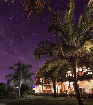 Picturesque view of the exterior of Uga Bay on a starry night
