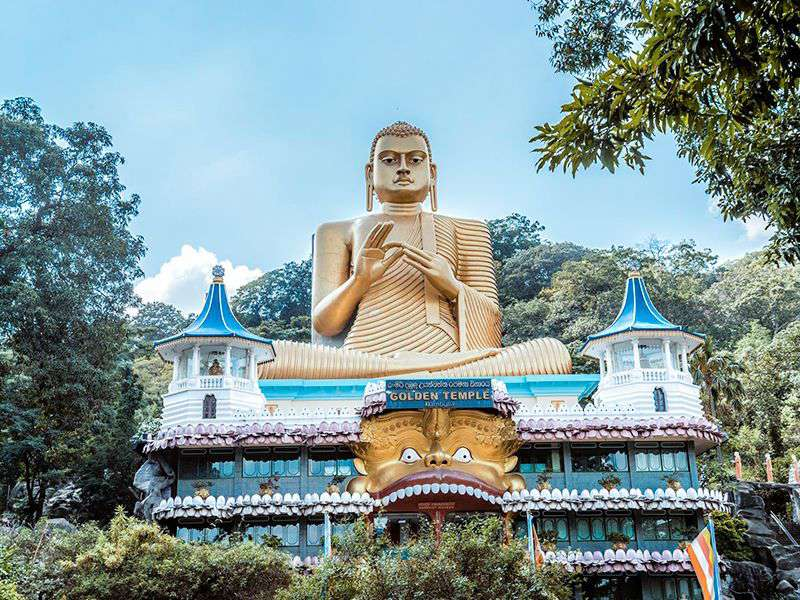 Golden temple of Dambulla , a cave monastery