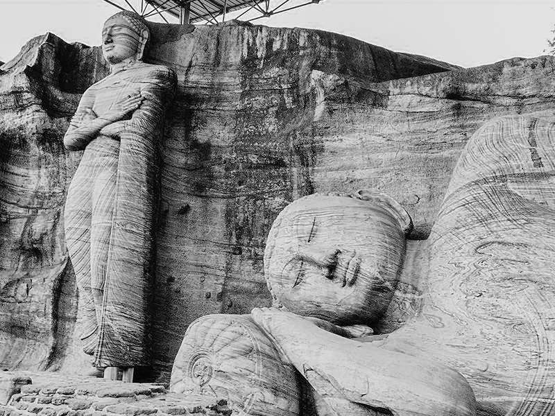 Giant rock carvings of Buddha; portraits of Sri Lankan rich heritage