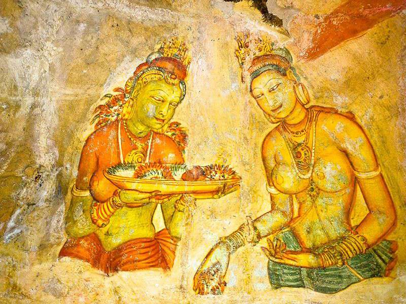 Close up view of the famous Sigiriya Frescoes