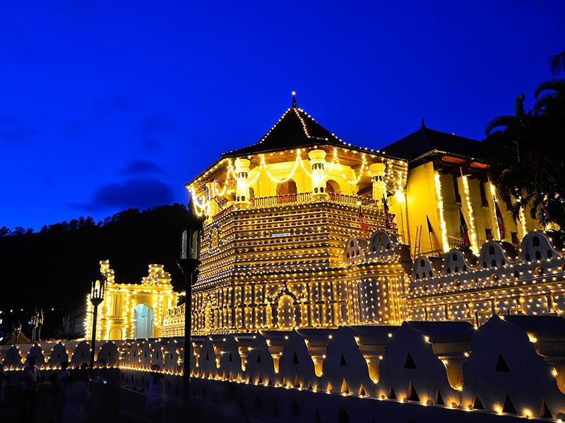 Beautiful night view of the sacred Dalada Maligawa