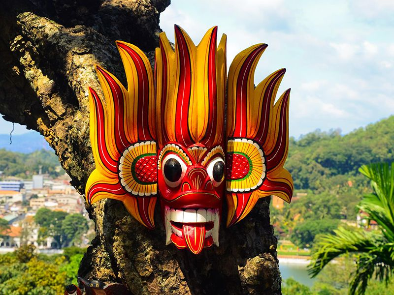 A traditional devil mask in Sri Lanka - a unique Sri Lankan souvenir