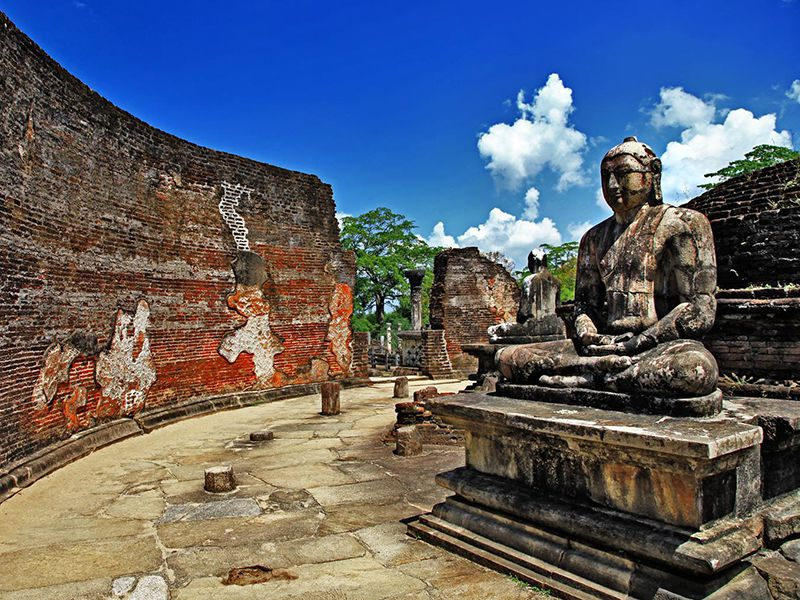 Ancient statues of Buddha at Vatadage temple in Polonnaruwa