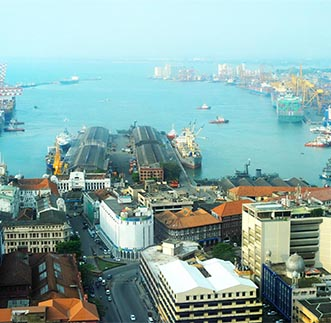 Sky view of Colombo Port & the city